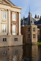 Dutch parliament buildings and Mauritshuis along the Hofvijver; The Hague, Netherlands